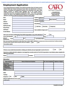 Cato Fashions Career Applications Cato Application Form